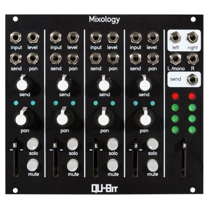 Qu-Bit Electronix Mixology Eurorack Stero Mixer Module (Black)