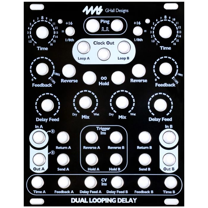 4ms Replacement Panel (Black) - DLD Dual Looping Delay