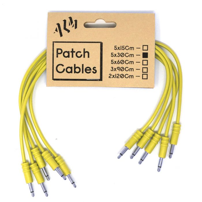 ALM Busy Circuits ALM-PC001x30 Eurorack Patch Cables (5 x 30cm) - Yellow