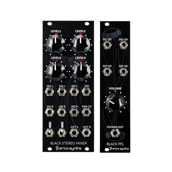 Erica Synths Black Stereo Mixer & PFL Expander Bundle