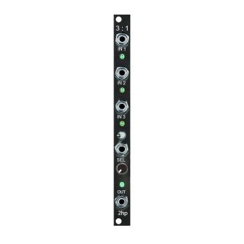 2hp 3:1 Eurorack Voltage Controlled Switch Module (Black)