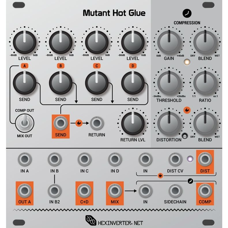 Hexinverter Electronique Mutant Hot Glue Eurorack Mixer Module