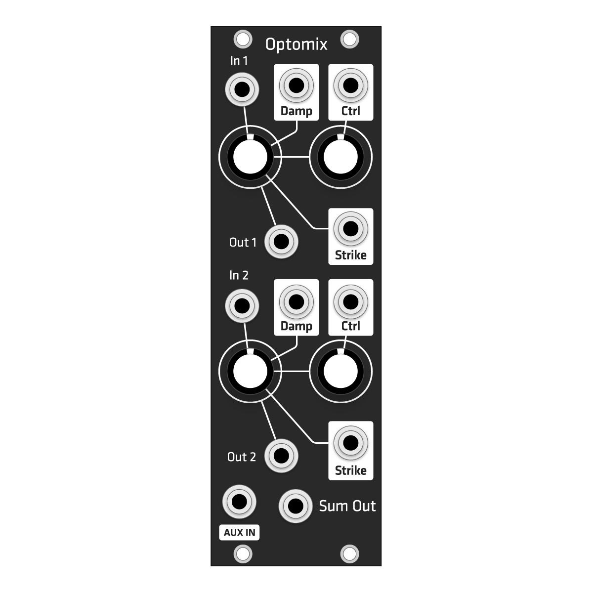 Grayscale Replacement Panel - Make Noise Optomix (Black Matte)