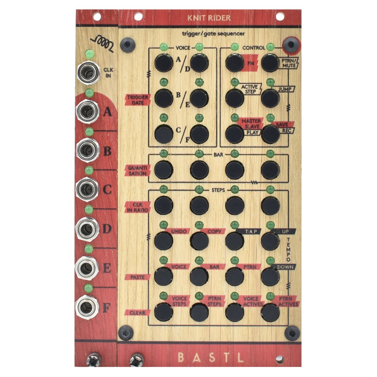 Bastl Instruments Knit Rider Eurorack 6 Channel Gate/Trigger Sequencer Module (Wood)
