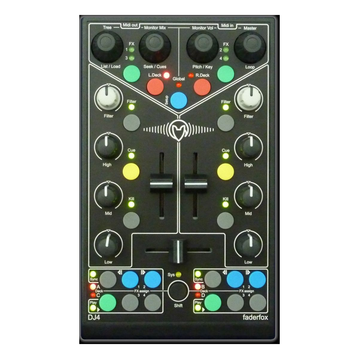 FaderfoxDJ4 USB DJ MIDI Controller